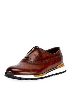 Berluti Fast Track Leather Brogue Sneaker, Brown/Yellow