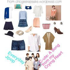"""Casual outfits inspired by those of Jpop girl group C-ute in their song """"A Song from my Crying Heart."""" View the full article at http://chicgeekspeaks.wordpress.com/2014/02/12/everyday-jpop-c-utes-a-song-from-my-crying-heart/"""