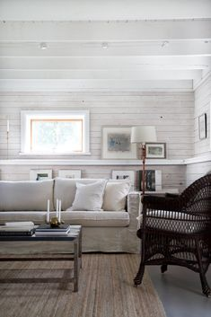 We're loving this country chic living room designed by Ikea Karlstad Sofa, Ship Lap Walls, 3 Seater Sofa, Sofa Covers, Rugs In Living Room, Slipcovers, Loose Fit, Couch Sofa, Couches