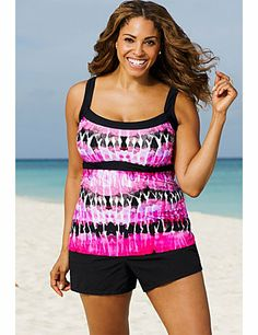 Scoop neckline provides moderate coverage.; Empire waist with contrast band draws attention upward, breaks up torso, and visually slims waist.; Print breaks up torso and visually slims waist.; Cargo short with functional pockets, velcro closure, and attached panty hides hips while minimizing rear and thighs.; Soft molded cup bra, with encircled plush empire band, provides full bust support.; 82% Nylon / 18% Spandex; catherines.com