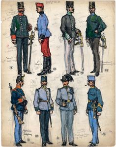 "17. Officer, Militärkanzlei (Military Clerks' Office); 18. Trooper, 6th Dragoons; 19. Lieutenant, Hungarian Infantry Regiment No. 79; 20. Second Lieutenant, Rechnungsfüher (Invoice Department); 21. Private, German Infantry Regiment No. 45; 22. Sergeant-Major, Landsschutzen Regiment (Bozen) No. 2; 23. Private, Landsschutzen Regiment (Bozen) No. 2; 24. Sergeant-Major, German Infantry Regiment No. 73. Extract from: AE Haswell Miller & John Mollo. ""Vanished Armies."""