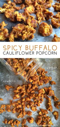 Spicy Buffalo Cauliflower Popcorn. Easy raw vegan spicy buffalo cauliflower popcorn recipe. Use a dehydrator or oven at it's lowest temperature to make a healthy crunchy savory snack. @rawmanda