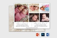 Twin Birth Announcement Template | Newborn Announcement template | Birth announcement card | Birth announcement printable, Baby Announcement Twin Birth Announcements, Birth Announcement Template, Birth Announcement Girl, Announcement Cards, Recipe Book Templates, Cookbook Template, Program Template, Youth Group Activities, Youth Groups