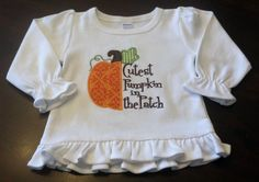 """Halloween Sale: 15% off Boutique Quality  Fall """"Cutest Pumpkin in the Patch"""" Shirt or Bodysuit. $18.50, via Etsy."""