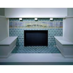"""#throwbackthursday """"In this set of fireplace tiles a panoramic landscape combines a graphic clarity and matte-textured glaze palette that embody Arts and Crafts design. The landscape frieze of flowing line and glowing color is surrounded by nearly two hundred blue-glazed tiles, making the fireplace the focal point in the St. Louis, Missouri house for which it was made."""" The colors and rich detail make this one of my favorite Frederick Hurten Rhead installation."""