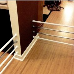 Tension rods are this season's must-have DIY item for household organization. You may know them as shower curtain rods, but it turns out that the tension rod c Organizing Your Home, Home Organization, Household Organization, Organizing Ideas, Baby Gates, Dog Gates, Dyi Baby Gate, Wide Baby Gate, Baby Gate For Stairs