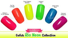 I have another set of Gelish swatches for you! This is the Rio Neon collection that was released previously. Since Gelish will be releasing a new neon collection very soon, I wanted to swatch this … Opi Gel Polish, Gel Polish Colors, Gelish Nails, Nail Manicure, Gelish Colours, Nail Colors, Silver Nails, Soak Off Gel, Cool Nail Art