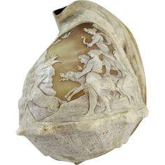19th c Carved Italian Cameo Shell with Relief Hunt Scene with Diana