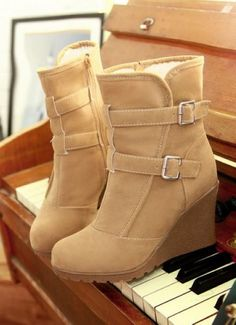 2013 Ankle Buckle Wedge Boots, Fall/Winter Ankle Wedge Boots, Ankle Buckle Snow Boots #ankle #buckle #booties www.loveitsomuch.com