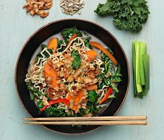 Kale and noodle soup