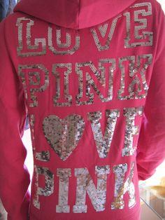 Sparkly love pink hoodie
