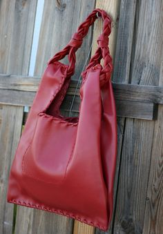 Red Leather Hobo Bag  Every day Shopping Bag  by EleannaKatsira