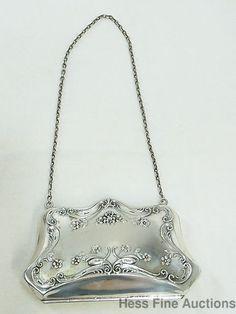 Antique Large Sterling Silver Floral Repousse Bag Purse no reserve #EveningBag