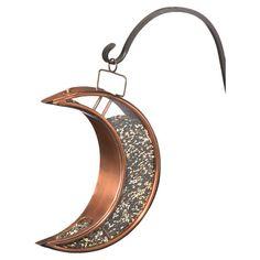 Crescent moon-shaped hanging birdfeeder.   Product: BirdfeederConstruction Material: Powder coated steel...