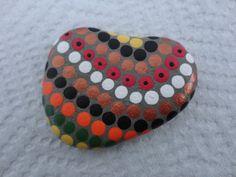 PAINTED BEACH STONE / Pebble Art /Hand Painted Stone/ Dot Painted Stone /Home Decor / Decorative Rock/ Abstract / Acrylic / Original