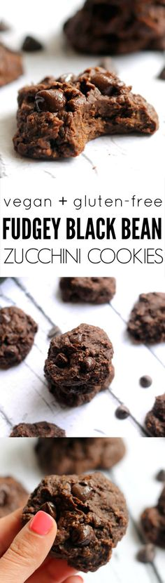 Fudgey Black Bean Zucchini Cookies---All the deliciousness of a chocolate cookie without the flour butter and refined sugar! Fudgey Black Bean Zucchini Cookies---All the deliciousness of a chocolate cookie without the flour butter and refined sugar! Bean Recipes, Snack Recipes, Dessert Recipes, Cooking Recipes, Healthy Baking, Healthy Desserts, Healthy Recipes, Zucchini Cookies, Vegan Treats