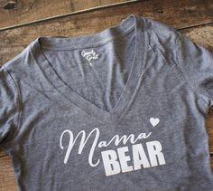 Mama Bear Shirt Mama Bear Vneck Shirt Mama Bear by GNARLYGRAIL