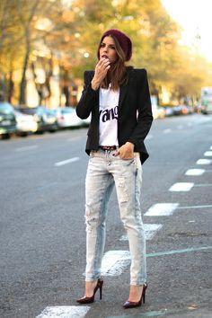 Zara jeans, beanie & shoes, Mekdes T-shirt, Hoss Intropia belt, Boutique Pau'la blazer.