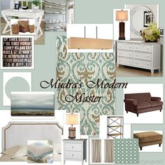 soft blue and brown master bedroom