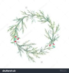 Watercolor Christmas tree, holly and mistletoe wreath. Hand painted vintage round frame with branches, berries and leaves isolated on white background. Traditional winter decorative element