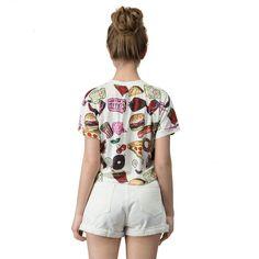 Fast Food Print T-Shirt Crop Top - Uniqistic.com