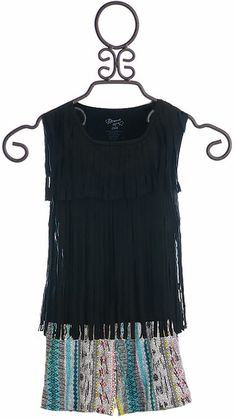 Flowers by Zoe Top in Black with Aztec Shorts
