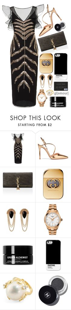"""Black + Gold"" by cherieaustin on Polyvore featuring Gianvito Rossi, Yves Saint Laurent, Gucci, Tissot, Grown Alchemist and Pantone Universe"
