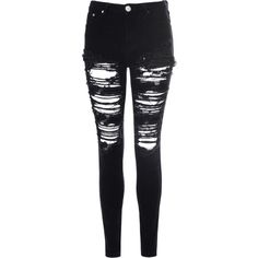 Black Heavily Ripped Jeans ($53) ❤ liked on Polyvore featuring jeans, pants, bottoms, black, ankle length jeans, distressed skinny jeans, destructed skinny jeans, torn skinny jeans and destruction jeans