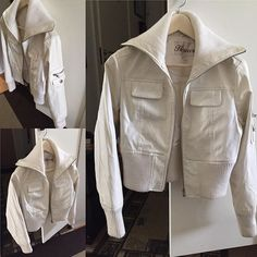 Vit skinnjacka med hög krage. Storlek L men passar en M. Pris 100kr. #firstlook #jacka #vit #kläder #säljakläder #bättrebegagnad