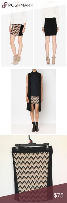 """Host PickRag & Bone Elaine Chevron Knit Skirt Girl Boss Host Pick by @redoyou 2/1/17Measures about 14"""" across the elastic waistband and 18 1/2"""" in length.  Chevron print panel, ribbed black knit, unlined.  87% rayon 12% nylon 1% spandex.  No trades. rag & bone Skirts Mini"""