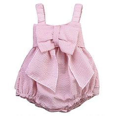 baby rompers | Baby Girls Striped Seersucker Bubble Straps Ruffle Layers Bowknot Romper (70(0-6M))