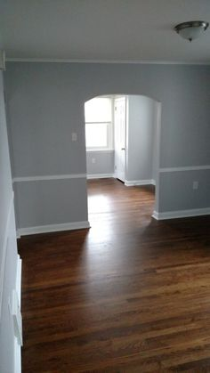 """behr white metal paint and refinished hardwood floor with Minwax """"Special Walnut"""""""