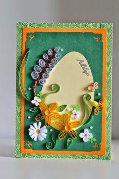 Kartka na Wielkanoc #manufakturasiostry #DIY #kartki #quilling #easter