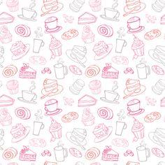 Food & Drink by Ohn Mar Win, via Behance Doodle Background, Theme Background, Background Patterns, Cute Pattern, Pattern Design, Milkshake Shop, Cupcakes Wallpaper, Bakery Business Cards, Decoupage Vintage