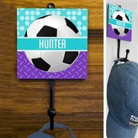 This exclusive Soccer Sport Hook is made from hand-forged steel and features a customized printed tile. Hang your coat, hats, pinnies, and medals in style. Soccer Room Decor, Forged Steel, Soccer Ball, Tile, Display, Printed, Hats, Sports, Floor Space