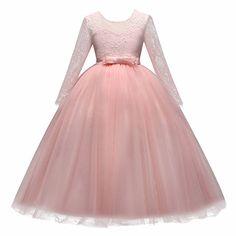 Vestito Principessa per Ragazza di Fiore Abiti da Sera Matrimonio Damigella  d onore Pizzo Tulle fb77401b7e9