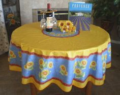 French Provence Vintage Sunflower Yellow Blue Round Acrylic Coated Stain  Resistant Tablecloth   French Oilcloth Indoor