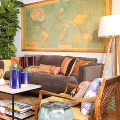 I like the idea of the vintage world map as art in the living room as kids will absorb the knowledge over time