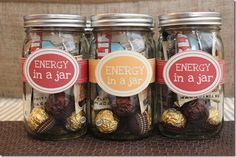 #diy energy-in-a-jar. great for coworkers in the office! hmm... i'd fill mine with k-cups, nuts, chocolate & healthy protein bars. :)