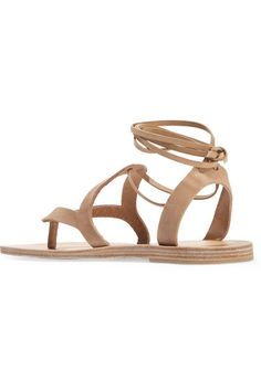 Heel measures approximately 10mm/ 0.5 inches Beige nubuck  Ties at ankle  Designer color: Cumin Imported
