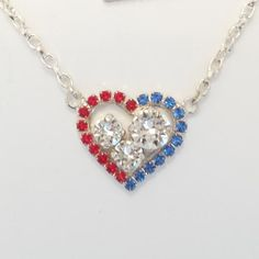 I Heart America, Swarovski Bridesmaid Necklace, Military Wedding, Patriotic, July 4th, meaning, DKSJewelrydesigns, FREE SHIPPING