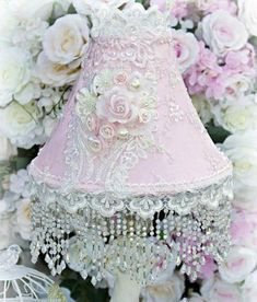 Roses and Pearls Medium Beaded Victorian Lampshade - Roses And Teacups