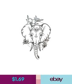 $1.69 - Waterproof Temporary Fake Tattoo Stickers Cute Elephant Animals Cartoon #ebay #Fashion