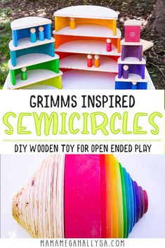 Super Simple DIY Semicircles and Planks for Extra Rainbow Fun - MamaMeganAllysa Rainbow Rice, Wooden Rainbow, Simple Diy, Super Simple, Easy Diy, Wooden Building Blocks, Small World Play, Planks, Wood Toys