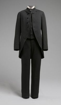 Philadelphia Museum of Art - Collections Object : Man's Wedding Suit: Cutaway Coat, Trousers, and Waistcoat  Made by C. Prueger & Son, Philadelphia  Geography: Made in United States, North and Central America Date: 1885 Medium: Black wool faille, wool braid