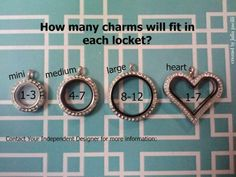 Origami Owl Lockets, if you have questions on how many charms would fit into your locket...here are the possibilities depending on which charms you choose!