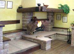 Camini rustici, lavorazione artigianale con pietre, mattoni e ...