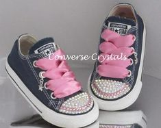 e2394c526815 Infant Custom Crystal Toes Backs and Fabric Bling Converse