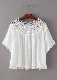 Hollow-Out Lace Splicing Blouse | DisheeFashion.com