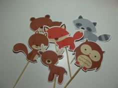 Cupcake Toppers~ Food Picks ~ 24 ~ Forest Friends ~ Woodland Creatures Theme Birthday Party, Woodland Animals Baby Shower